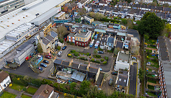 © Licensed to London News Pictures. 18/03/2020. Elstree, UK. An aerial view of the now closed EastEnders Set at the BBC Elstree studios in Hertfordshire. All production at the studios has stopped during the Coronavirus outbreak. Photo credit: LNP