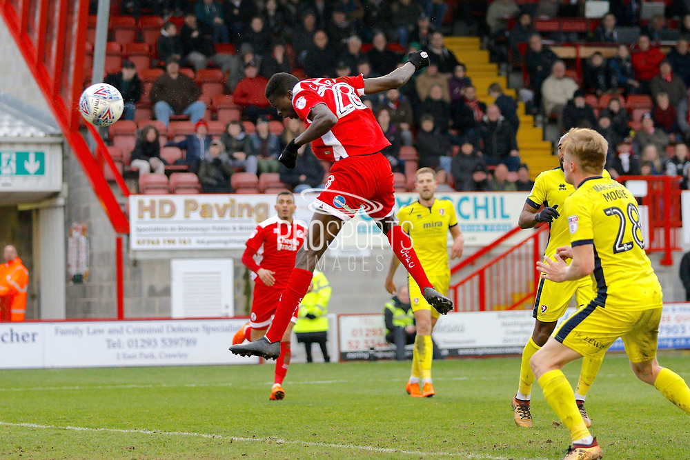 Crawley Town forward Panutche Camara (28) scores a goal (score 2-5) during the EFL Sky Bet League 2 match between Crawley Town and Cheltenham Town at the Checkatrade.com Stadium, Crawley, England on 24 March 2018. Picture by Andy Walter.
