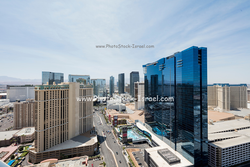Elevated view of The Strip, Las Vegas, Nevada, USA. Hilton Grand Vacations Hotel and Casino in the centre