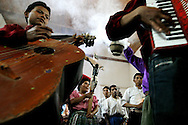 A mariachi band play at a wedding at the Peroquia de Santo Christo church in Zacualpa, Guatemala.