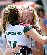 Surbiton celebrate winning their opening game of the EHCC 2017 at Den Bosch HC, The Netherlands, 2nd June 2017