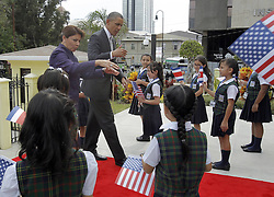 59600227  .Costa Rica s President Laura Chinchilla (L) and U.S President Barack Obama (2nd L), greet children as they arrive to the Foreign Ministry in San Jose, capital of Costa Rica, on May 3, 2013. Photo by: imago / i-Images. UK ONLY