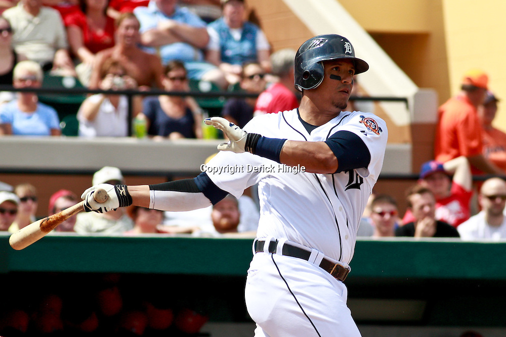March 9, 2011; Lakeland, FL, USA; Detroit Tigers catcher Victor Martinez (41) during a spring training exhibition game against the Philadelphia Phillies at Joker Marchant Stadium.   Mandatory Credit: Derick E. Hingle