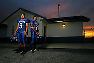 Photo by Alex Jones..Port Isabel Tarpons: #3 David Alaniz, quarterback, #2 Nolan Nuñez, running back.
