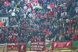CARDIFF, WALES - Sunday, March 2, 2003: Liverpool fans with banner during the Football League Cup Final against Manchester United at the Millennium Stadium. (Pic by David Rawcliffe/Propaganda)