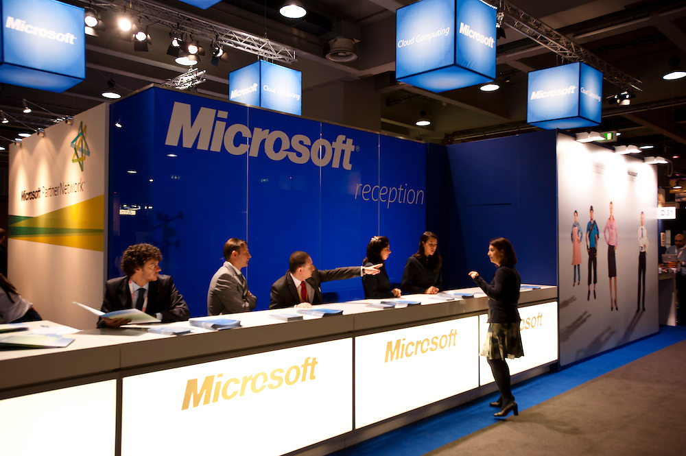 MILAN, ITALY - OCT. 21: Microsoft reception desk during SMAU, International Exhibition of Information and Communication Technology on October 20, 2010 in Milan, Italy.