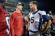 Atlanta Falcons quarterback Matt Ryan (2) chats with Denver Broncos quarterback Joe Flacco (5) after the Pro Football Hall of Fame Game at Tom Benson Hall of Fame Stadium, Thursday, Aug. 1, 2019, in Canton, OH. The Broncos defeated the Falcons 14-10. (Robin Alam/Image of Sport)