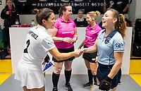 HAMBURG  (Ger) - 06  LMHC Laren v Club Campo de Madrid (Esp) (6-4)   foto: umpires Liz Clifford and Celine Martin-Schmets. , Mila Muyselaar (Laren) and captain Rocio Gutierrez Sierra (Madrid)     Eurohockey Indoor  Club Cup 2019 Women . WORLDSPORTPICS COPYRIGHT  KOEN SUYK
