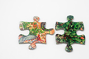 Cutout of non matching Jigsaw Puzzle pieces on white background