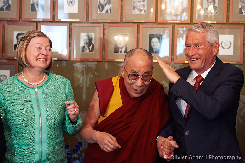 His Holiness with two members of Nobel Committee. Dalai Lama
