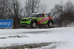 06.02.2014, Torsby, Hagfors, SWE, FIA, WRC, Schweden Rallye, Tag 2, im Bild Gorban Valerity/Korsia Volodymyr (Eurolamp WRT/BMW-Mini John Cooper Works), Action / Aktion, Jump, sprung // during the FIA WRC Sweden Rally at the Torsby in Hagfors, Sweden on 2014/02/07. EXPA Pictures © 2014, PhotoCredit: EXPA/ Eibner-Pressefoto/ Bermel<br /> <br /> *****ATTENTION - OUT of GER*****