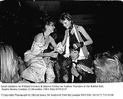 Sarah Gladders on William Vereker & Juliette Arthur on Andrew Marsden at the Bobbin Ball, Empire Rooms. London. 21 December 1983. Film 83952f19<br />© Copyright Photograph by Dafydd Jones. 66 Stockwell Park Rd. London SW9 0DA. Tel 0171 733 0108
