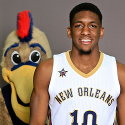 Sep 23, 2016; New Orleans, LA, USA; New Orleans Pelicans Langston Galloway (10) poses for a portrait as mascot Pierre the Pelicans sneaks in from behind during media day at the Smoothie King Center. Mandatory Credit: Derick E. Hingle-USA TODAY Sports