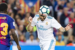 May 6, 2018 - Barcelona, Catalonia, Spain - Real Madrid forward Karim Benzema (9) heads the ball before the goal of Real Madrid forward Cristiano Ronaldo (7) during the match between FC Barcelona v Real Madrid, for the round 36 of the Liga Santander, played at Camp nou  on 6th May 2018 in Barcelona, Spain. (Credit Image: © Urbanandsport/NurPhoto via ZUMA Press)