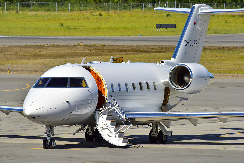 A Flightpath Charter Airways Bombardier Challenger 604 business jet visits Erik Nielsen Whitehorse International Airport