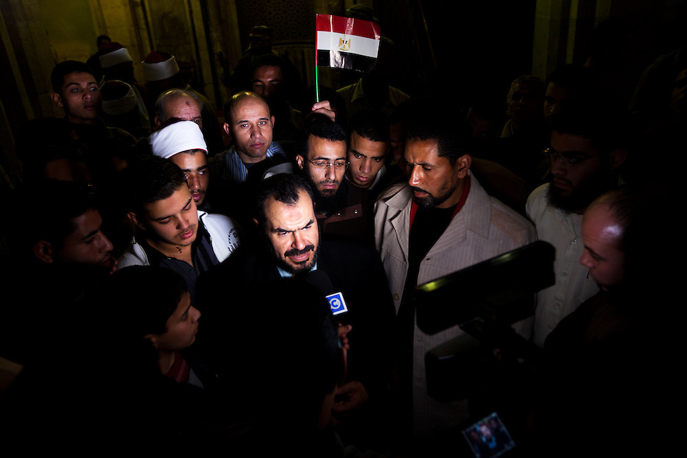 Dr. Salah Sultan, a member of Shaykh Yusuf al-Qaradawi's International Union of Muslim Scholars (IUMS) and the Muslim Brotherhood in Egypt meets the press at an event in solidarity with Palestine on Friday that was seen by many as a move signiling they do not support the protestors in Tahrir.