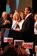 Los Angeles, CA, USA, 07.10.2003: Arnold Schwarzenegger celebrates his landslide victory over Lt. Governor Cruz Bustamante in the Recall Election in California at the Century Plaza Hotel.<br /> <br /> Mr. Schwarzenegger holds his speech to his volunteers. Next to him stands his wife Maria Shriver.<br /> <br /> Photo: Orjan F. Ellingvag/ Dagbladet/ Corbis