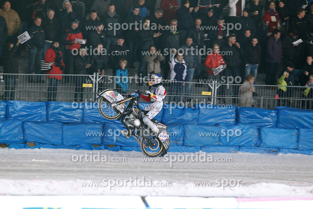 13.03.2016, Assen, BEL, FIM Eisspeedway Gladiators, Assen, im Bild Wheely von Franz Zorn (AUT) // during the Astana Expo FIM Ice Speedway Gladiators World Championship in Assen, Belgium on 2016/03/13. EXPA Pictures &copy; 2016, PhotoCredit: EXPA/ Eibner-Pressefoto/ Stiefel<br /> <br /> *****ATTENTION - OUT of GER*****