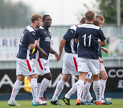 Falkirk's Ollie Durojaiye cele scoring their first goal. Falkirk  2 v 2 Rotherham Utd, pre-seaon friendly.<br /> &copy; Michael Schofield.