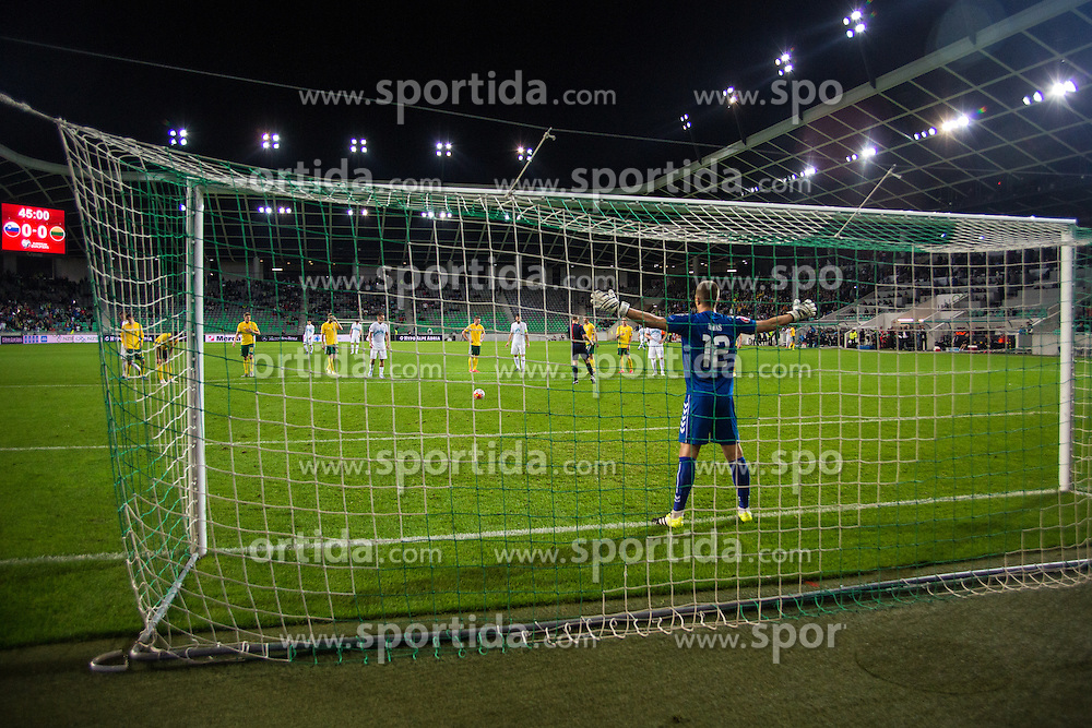 Samir Handanovic of Slovenia and Emilijus Zubas of Lithuania during the EURO 2016 Qualifier Group E match between Slovenia and Lithuania, on October 9, 2015 in SRC Stozice, Ljubljana Slovenia. Photo by Grega Valancic / Sportida