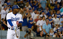 June 21, 2017 - Los Angeles, California, U.S. - Los Angeles Dodgers' Yasiel Puig watches his three run home run against the New York Mets in the fourth inning of a Major League baseball game at Dodger Stadium on Wednesday, June 21, 2017 in Los Angeles. Los Angeles. (Photo by Keith Birmingham, Pasadena Star-News/SCNG) (Credit Image: © San Gabriel Valley Tribune via ZUMA Wire)