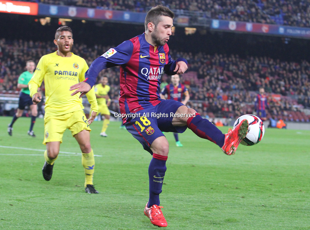 11.02.2015 Barcelona, Spain. Spanish Cup , Semi-final.  Jordi Alba in action during game between FC Barcelona against Villareal at Camp Nou