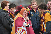 Bradford city fans arrive before the The FA Cup third round match between Bury and Bradford City at Gigg Lane, Bury, England on 9 January 2016. Photo by Mark Pollitt.