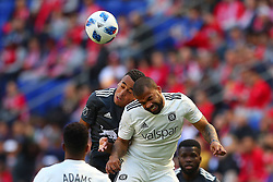 April 21, 2018 - Harrison, NJ, U.S. - HARRISON, NJ - APRIL 21:  Chicago Fire defender Kevin Ellis (5) battles New York Red Bulls midfielder Tyler Adams (4) during the first half of the Major League Soccer Game between the New York Red Bulls and the Chicago Fire on April 21, 2018, at Red Bull Arena in Harrison, NJ.   (Photo by Rich Graessle/Icon Sportswire) (Credit Image: © Rich Graessle/Icon SMI via ZUMA Press)