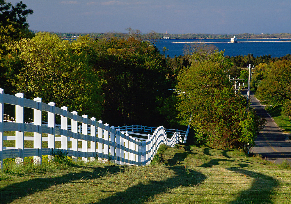 White Fench, Horse Farm, Shelter Island, New York, Long Island, North Fork,  Bug Light in Distance