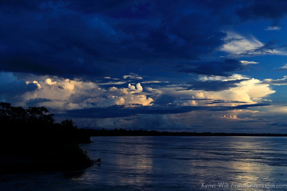 South America, Peru, Amazon. Dark Amazon Sky.