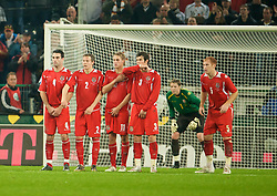 MONCHENGLADBACH, GERMANY - Wednesday, October 15, 2008: Wales' goalkeeper Wayne Hennessey lines up his wall to defend a free-kick from Germany's captain Michael Ballack during the 2010 FIFA World Cup South Africa Qualifying Group 4 match at the Borussia-Park Stadium. L-R: Craig Morgan, Chris Gunter, David Edwards, Gareth Bale, James Collins and goalkeeper Wayne Hennessey. (Photo by David Rawcliffe/Propaganda)