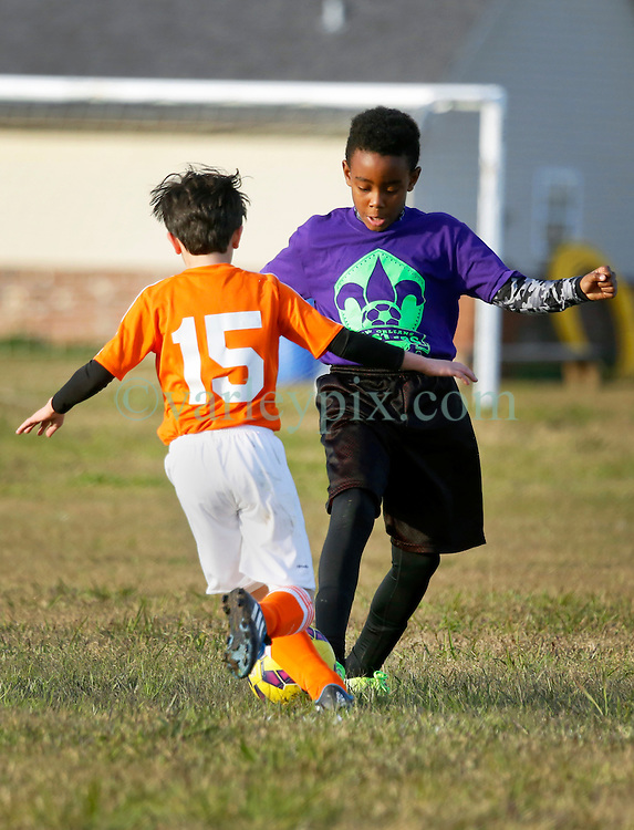 24 January 2016. Houma, Louisiana. <br /> New Orleans Jesters Youth Academy U10 Green vs Lafourche Legacy U11's. <br /> Photo©; Charlie Varley/varleypix.com