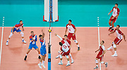 Poland, Warsaw - 2017 August 24: Michal Kubiak from Poland spikes against Marko Podrascanin from Serbia  while match Poland versus Serbia during LOTTO EUROVOLLEY POLAND 2017 - European Championships in volleyball at Stadion PGE Narodowy on August 24, 2017 in Warsaw, Poland.<br /> <br /> Mandatory credit:<br /> Photo by &copy; Adam Nurkiewicz<br /> <br /> Adam Nurkiewicz declares that he has no rights to the image of people at the photographs of his authorship.<br /> <br /> Picture also available in RAW (NEF) or TIFF format on special request.<br /> <br /> Any editorial, commercial or promotional use requires written permission from the author of image.