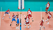 Poland, Warsaw - 2017 August 24: Michal Kubiak from Poland spikes against Marko Podrascanin from Serbia  while match Poland versus Serbia during LOTTO EUROVOLLEY POLAND 2017 - European Championships in volleyball at Stadion PGE Narodowy on August 24, 2017 in Warsaw, Poland.<br /> <br /> Mandatory credit:<br /> Photo by © Adam Nurkiewicz<br /> <br /> Adam Nurkiewicz declares that he has no rights to the image of people at the photographs of his authorship.<br /> <br /> Picture also available in RAW (NEF) or TIFF format on special request.<br /> <br /> Any editorial, commercial or promotional use requires written permission from the author of image.