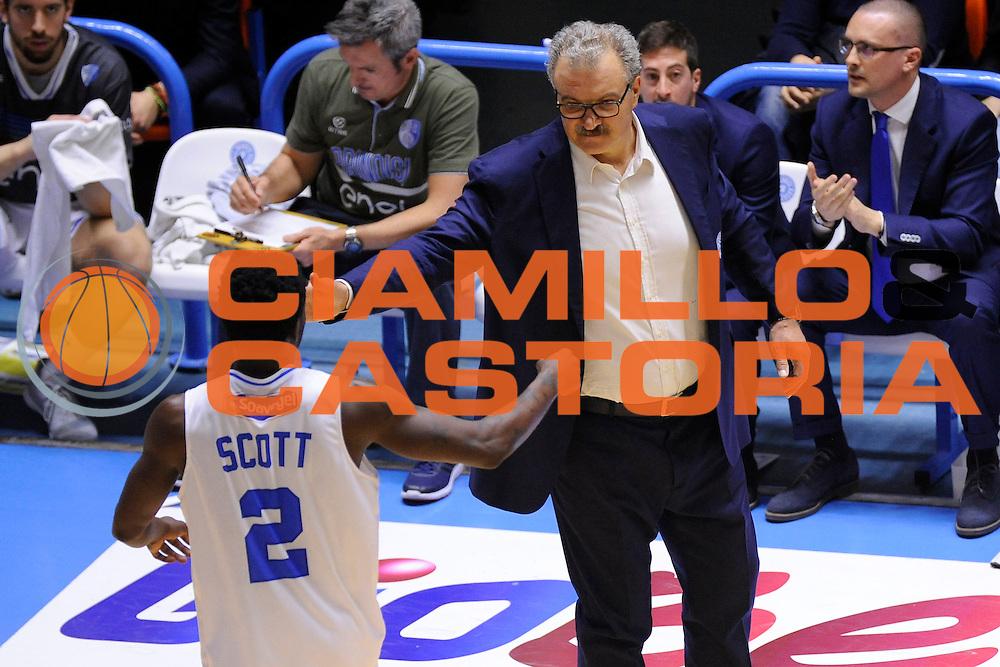 Durand Scott Romeo Sacchetti<br /> Enel New Basket Brindisi - Openjobmetis Pallacanestro Varese<br /> Lega Basket Serie A 2016/2017<br /> Brindisi 12/02/2017<br /> Foto Ciamillo-Castoria