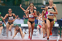 Rebecca Wade fall in the water during the finals of the 3000m steeplechase during day 8 of the U.S. Olympic Trials for Track & Field at Hayward Field in Eugene, Oregon, USA 29 Jun 2012..(Jed Jacobsohn/for The New York Times)....