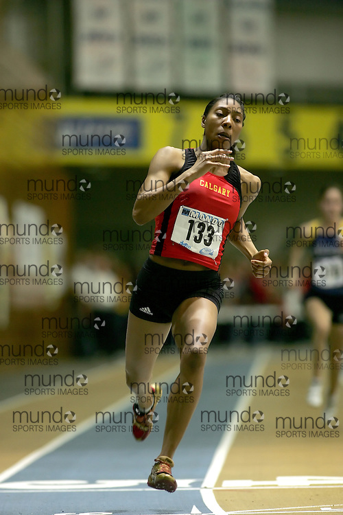 (Windsor, Ontario---12 March 2010) Amonn Nelson of University of Calgary Dinos   competes in the 300m final at the 2010 Canadian Interuniversity Sport Track and Field Championships at the St. Denis Center. Photograph copyright Sean Burges/Mundo Sport Images. www.mundosportimages.com