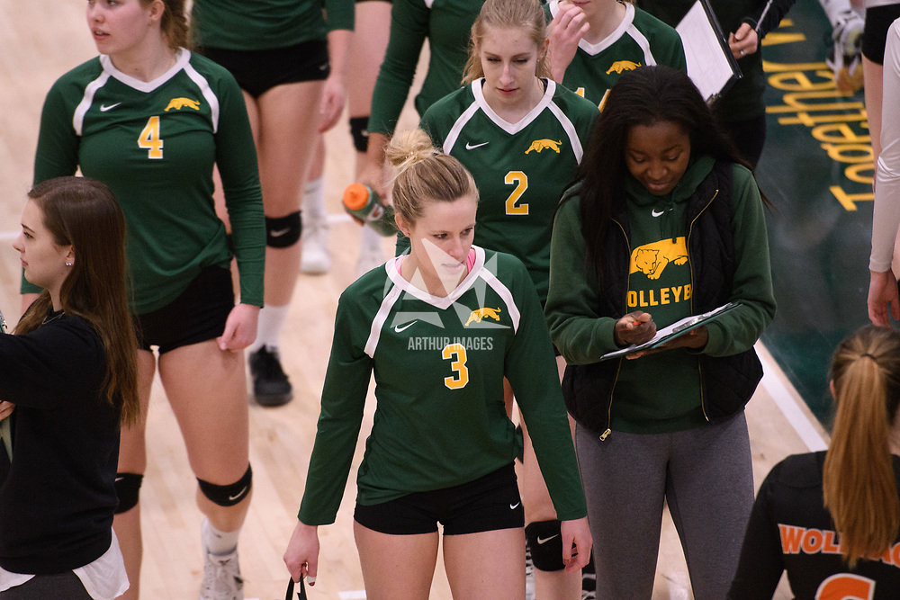 4th year outside hitter Leah Sywanyk (3) of the Regina Cougars during Women's Volleyball home game on January 13 at Centre for Kinesiology, Health and Sport. Credit: Arthur Ward/Arthur Images 2018