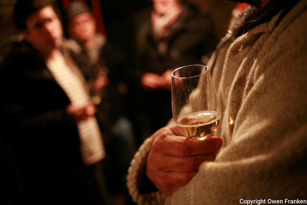 Tasting in the cellars of  Champagne maker Georges Laval