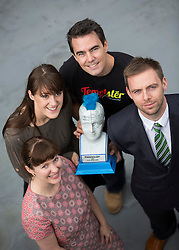 Repro Free: 11/10/2013 (back) Iseult Ward of Foodcloud and Ollie Fegan of Temptster, two of the 30 shortlisted companies chosen finalists in Ireland's most prestigious start-up competition, The ESB Spark of Genius Award are pictured with (front) Clare Dilion, Microsoft and David Scanlon, Enterprise Ireland. The winner of which will be announced at the Dublin Web Summit on October 31st with a cash prize of €25,000 plus a fund of services. Picture Andres Poveda