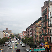 A panoramic Street Scene in Harlem, New York City, USA. 30th September 2014. Photo Tim Clayton