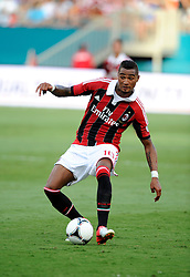 28 July 2012: AC Milan Kevin-Prince Boateng controls the ball during the World Football Challenge as A.C. Milan defeated Chelsea FC 1-0 at Sun Life Stadium in Miami, FL.