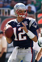 Sept 20, 2009; East Rutherford, NJ, USA;  New England Patriots quarterback Tom Brady (12) during the first half of their game against the New York Jets at Giants Stadium.