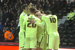 Brightons James Wilson Celebrates after scoring Brightons second Goal at Derby, Derby County v Brighton &Hove Albion, IPro Stadium, Sky Bet Championship,  Saturday 12th December 2015
