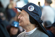 VATICAN CITY 04 OCTOBER 2017: A Religious Sister smiles as Pope Francis arrives at the General Audience. Photographs from the General Audience with Pope Francis on October 04, 2017 at Saint Peters Square in Vatican City, Rome, Italy.