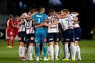GOSFORD, AUSTRALIA - OCTOBER 02: Mariners in a huddle before the FFA Cup Semi-final football match between Central Coast Mariners and Adelaide United on October 02, 2019 at Central Coast Stadium in Gosford, Australia. (Photo by Speed Media/Icon Sportswire)