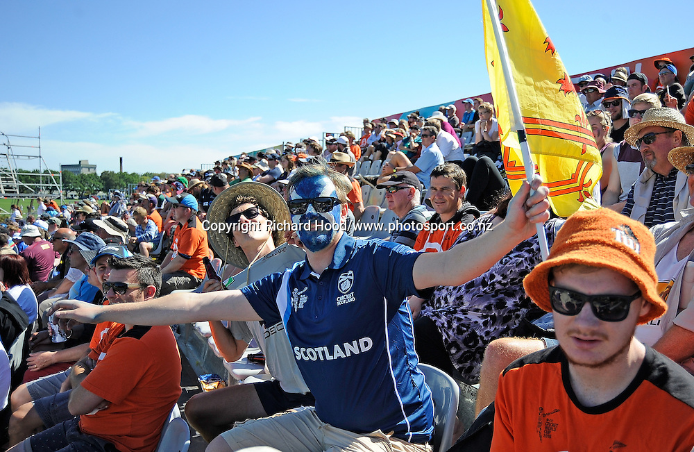 Scotland fan during the ICC Cricket World Cup match between New Zealand and Scotland at university oval in Dunedin, New Zealand. Photo: Richard Hood/photosport.co.nz