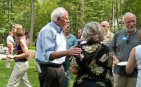 Senator Bernie Sanders greets guests gathered for the Merrimack County Democrats BBQ in Canterbury on Sunday afternoon.  (Karen Bobotas/for the Concord Monitor)