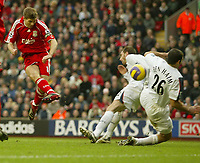 Photo: Aidan Ellis.<br /> Liverpool v Bolton Wanderers. The Barclays Premiership. 01/01/2007.<br /> Liverpool's Steven Gerrard scores the second goal