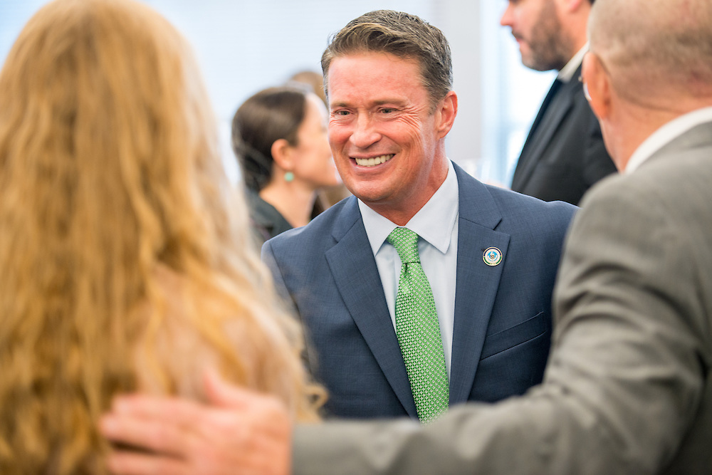 Candid shot of Barry Glassman, county executive at his 2014 Harford County inauguration at Harford Community College, Maryland, USA